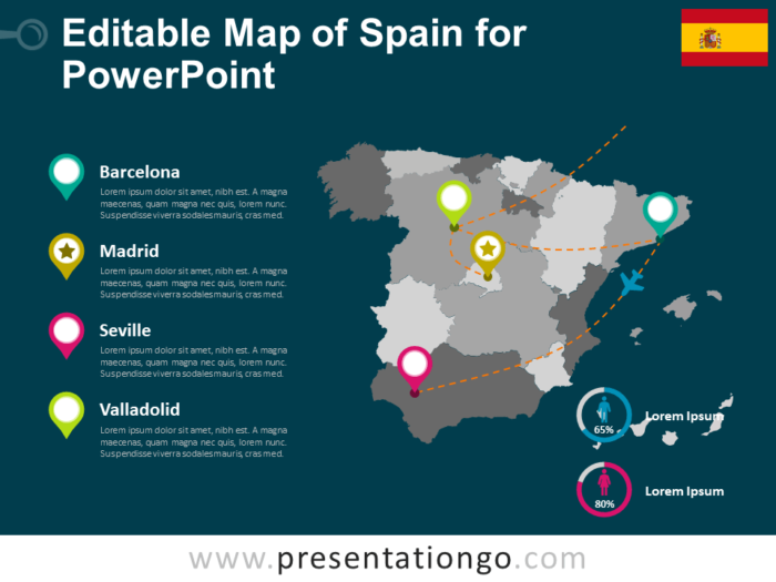 Free Map of Spain for PowerPoint