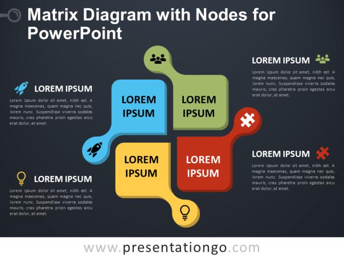 Free Matrix Diagram with Nodes for PowerPoint - Dark Background