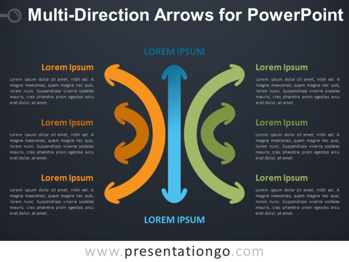Free Multi-Direction Arrows for PowerPoint - Dark Background