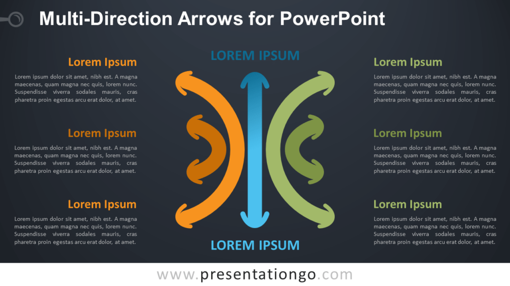 Multi-Direction Arrows for PowerPoint - Dark Background