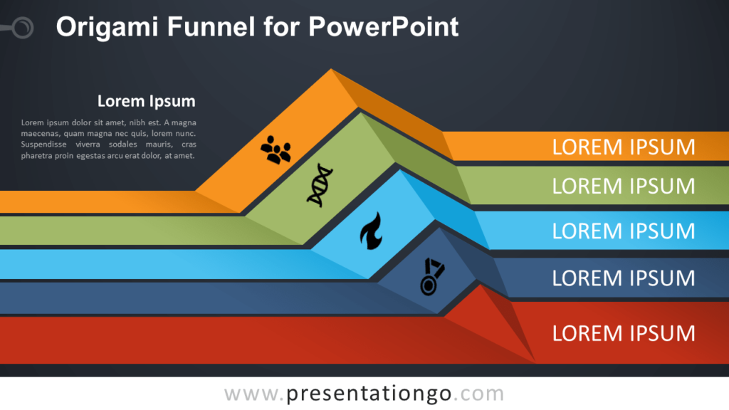 Free Origami Funnel Diagram for PowerPoint - Dark Background