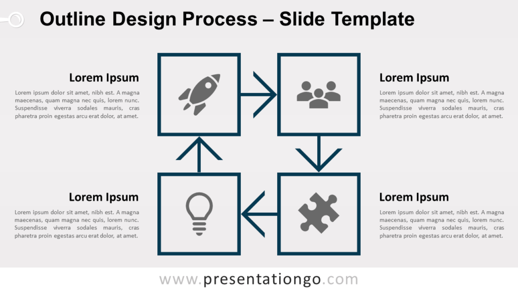 Free Outline Process Diagram for PowerPoint and Google Slides - 1 Color