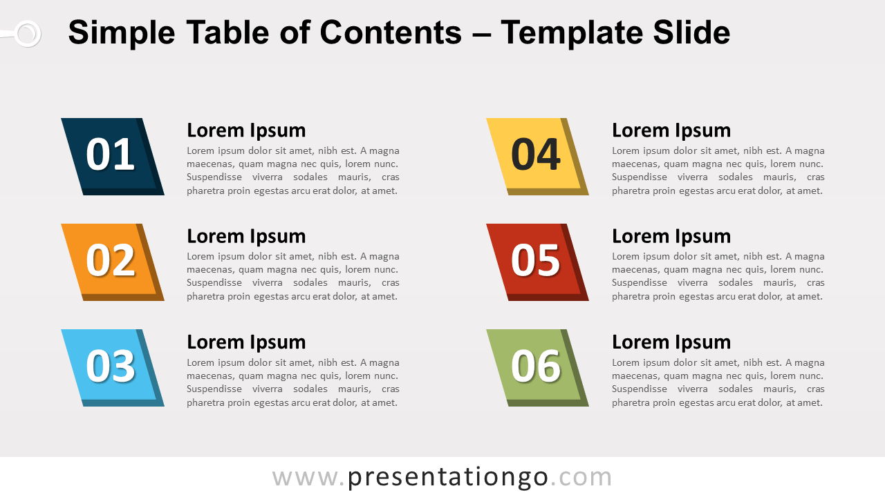 Free Simple Table of Contents for PowerPoint and Google Slides