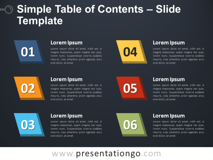 Free Simple Table of Contents Slide Template (Dark Background)