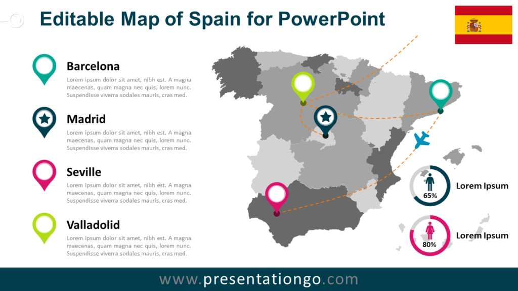 Spain Map Template PowerPoint