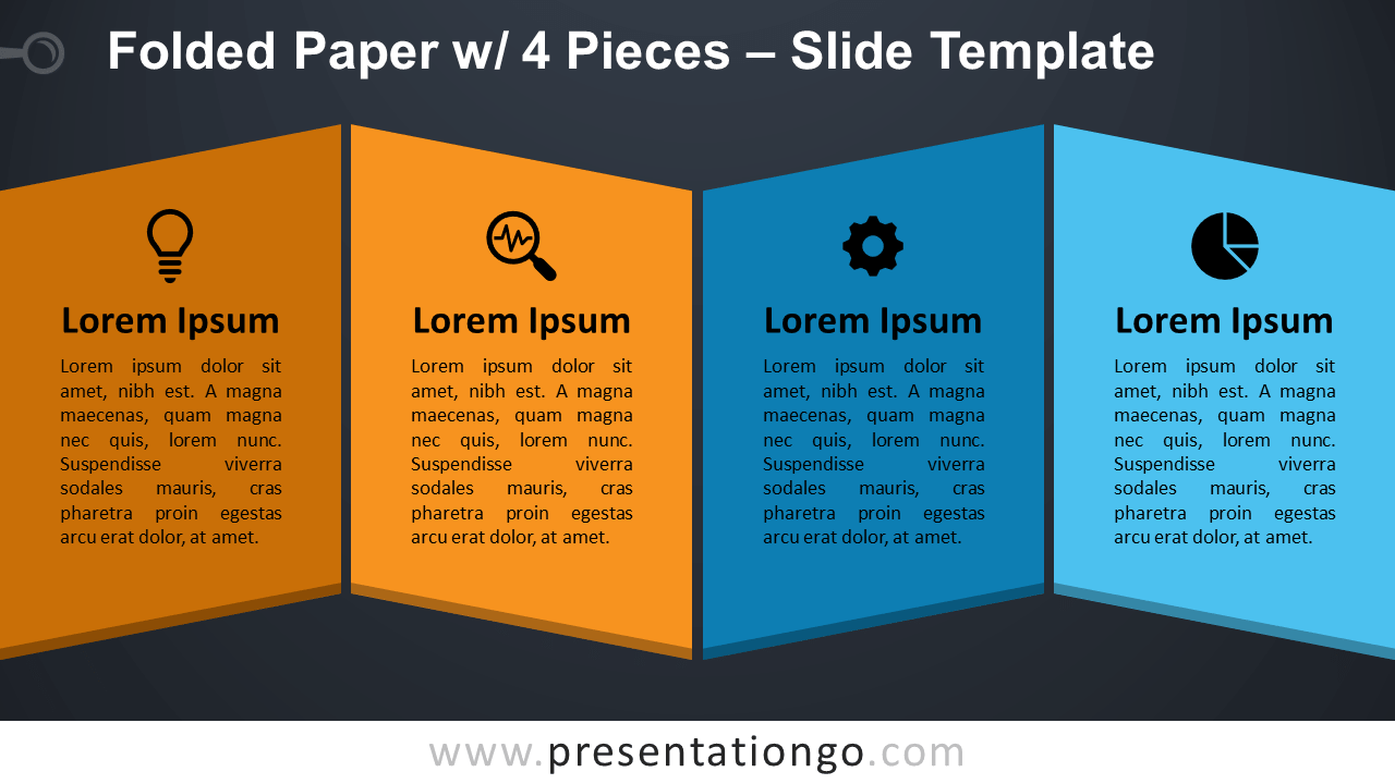 Free Folded Paper with 4 Pieces for PowerPoint