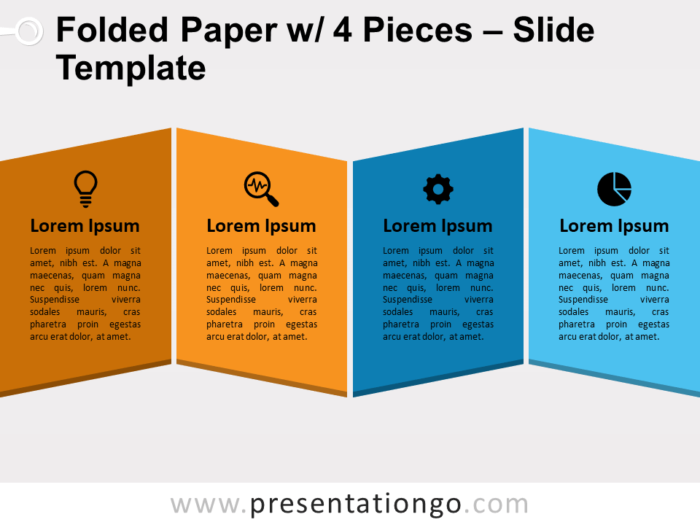 Free Folded Paper with 4 Pieces Slide Template