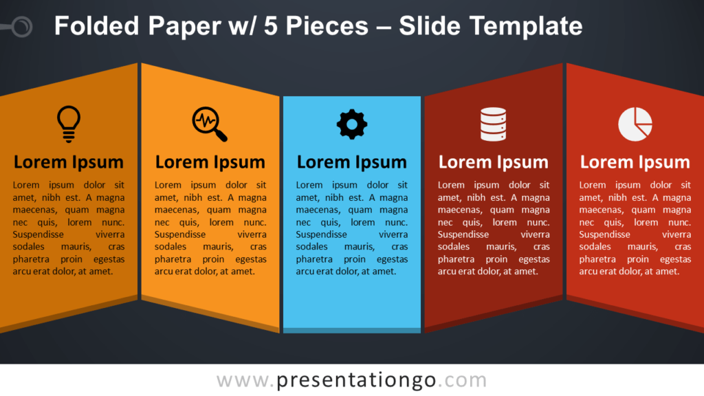 Free Folded Paper with 5 Pieces for PowerPoint