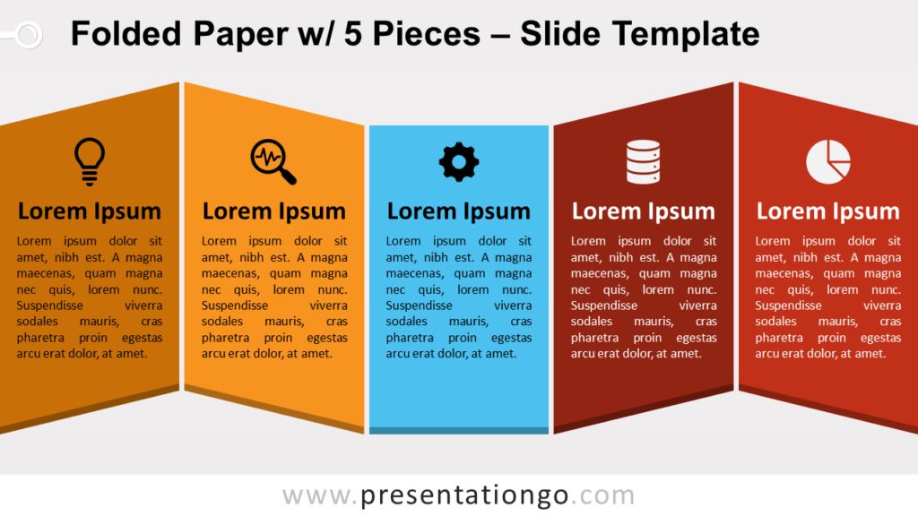 Free Folded Paper with 5 Pieces for PowerPoint and Google Slides