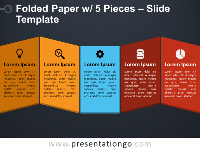 Folded Paper with 5 Pieces Presentation Template