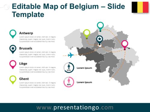 Free Map of Belgium Slide Template