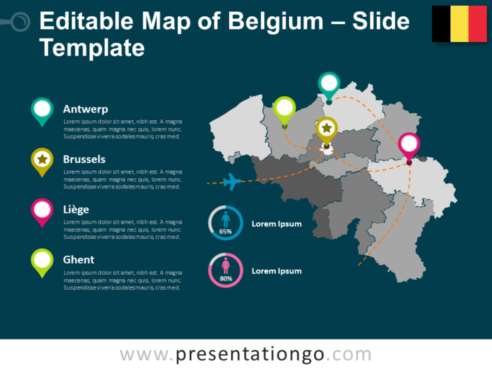 Free Map of Belgium Template for Presentation