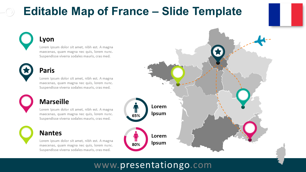 Free Map of France for PowerPoint and Google Slides