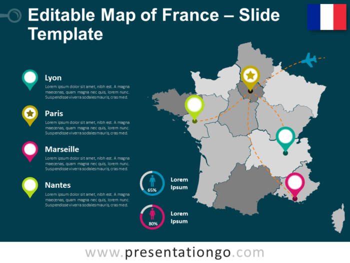 Free Map of France Template for Presentation