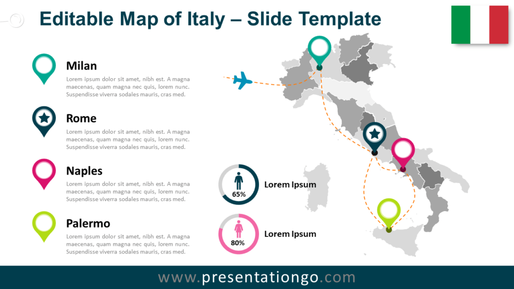 Free Map of Italy for PowerPoint and Google Slides
