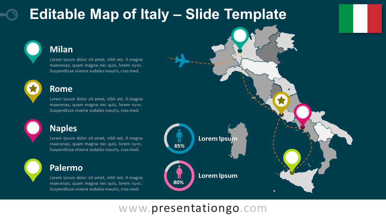 Free Map of Italy for PowerPoint