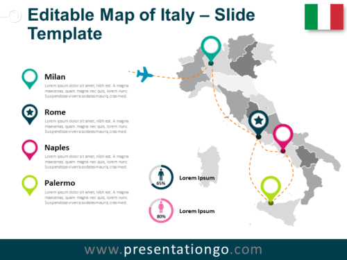 Free Map of Italy Slide Template