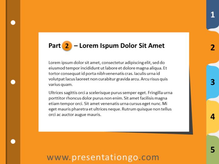 Free 5-Tab Binder Dividers for PowerPoint - Slide 3