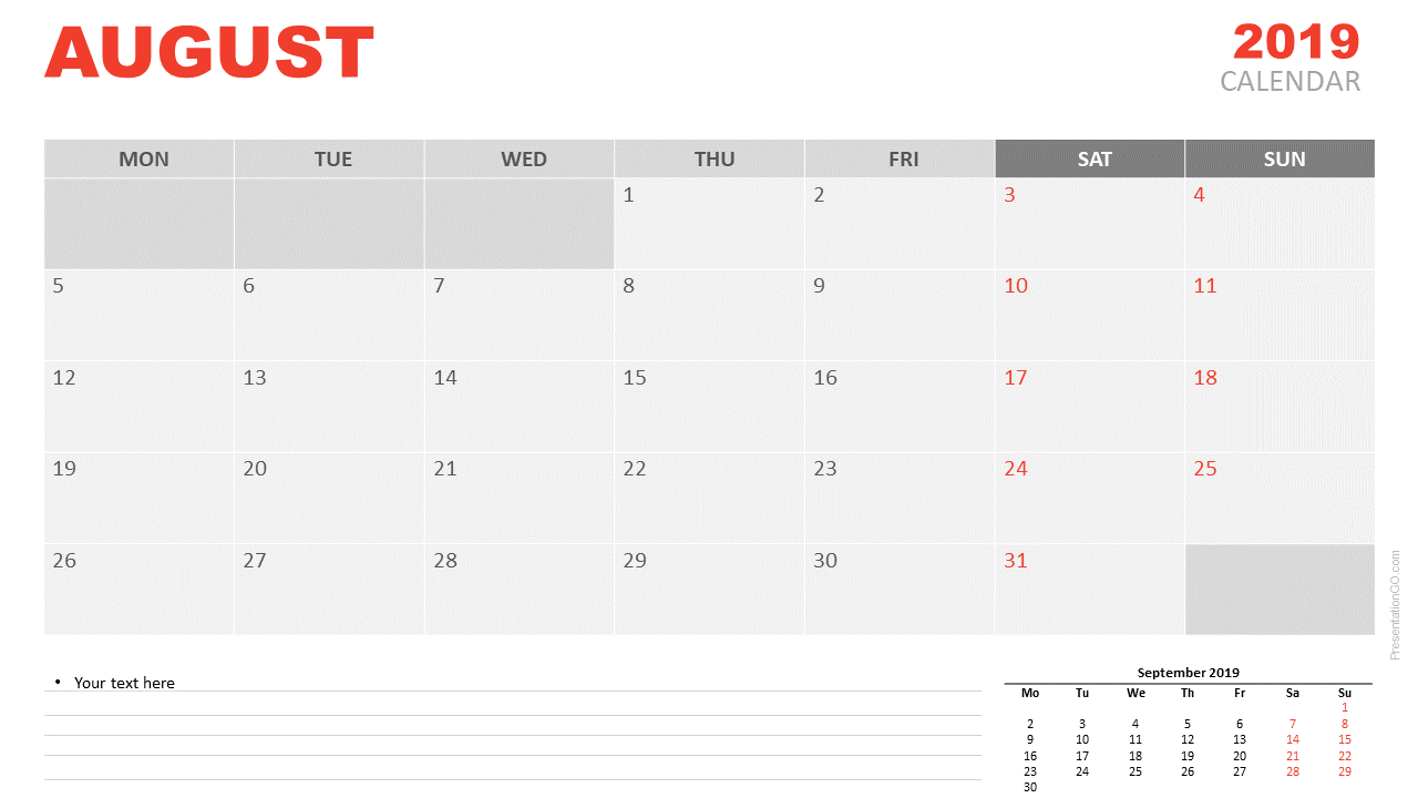 August 2019 Calendar for PowerPoint and Google Slides - Starts Monday