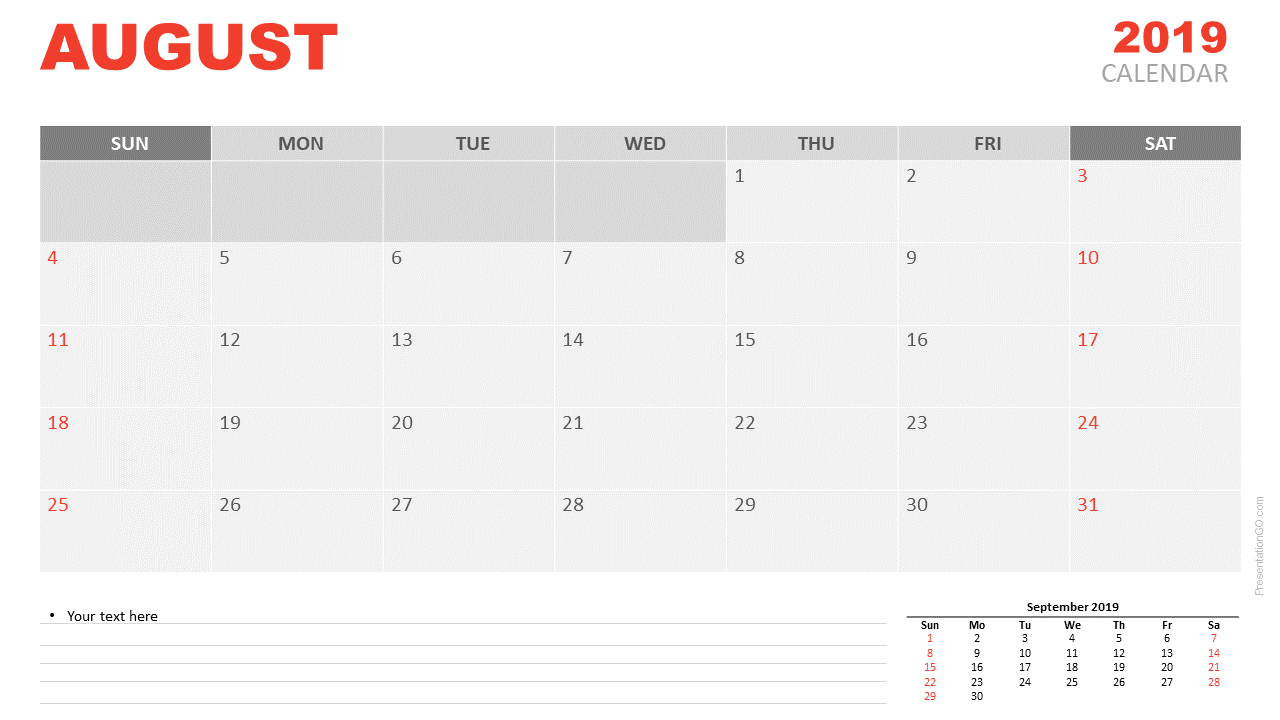 Free August 2019 Calendar for PowerPoint and Google Slides