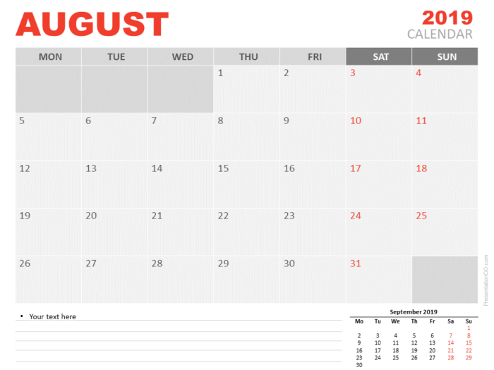 Free Calendar 2019 August for PowerPoint - Starts Monday