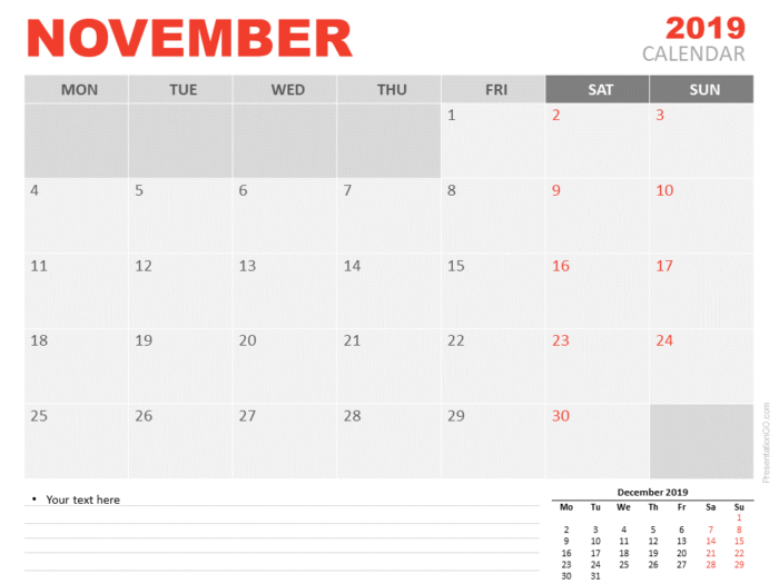 Free Calendar 2019 November for PowerPoint - Starts Monday