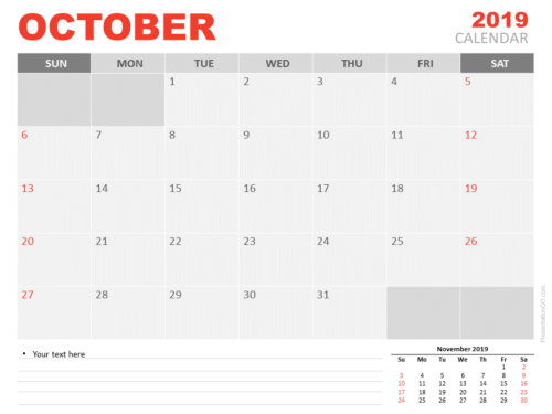 Free Calendar 2019 October for PowerPoint - Starts Sunday