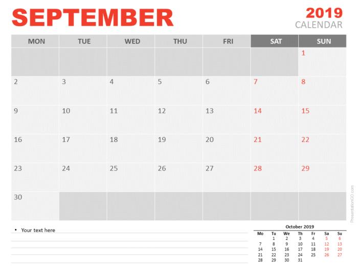 Free Calendar 2019 September for PowerPoint - Starts Monday