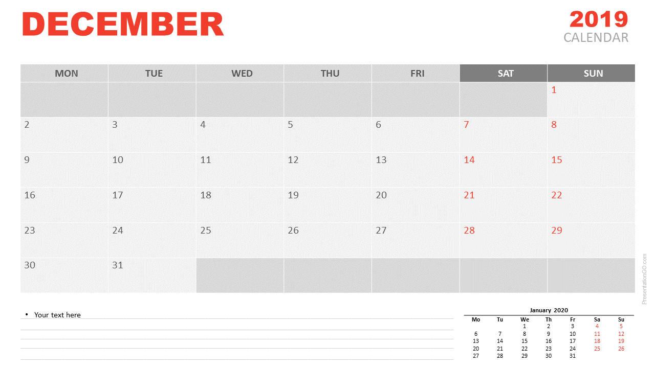 Free December 2019 Calendar for PowerPoint and Google Slides - Starts Monday