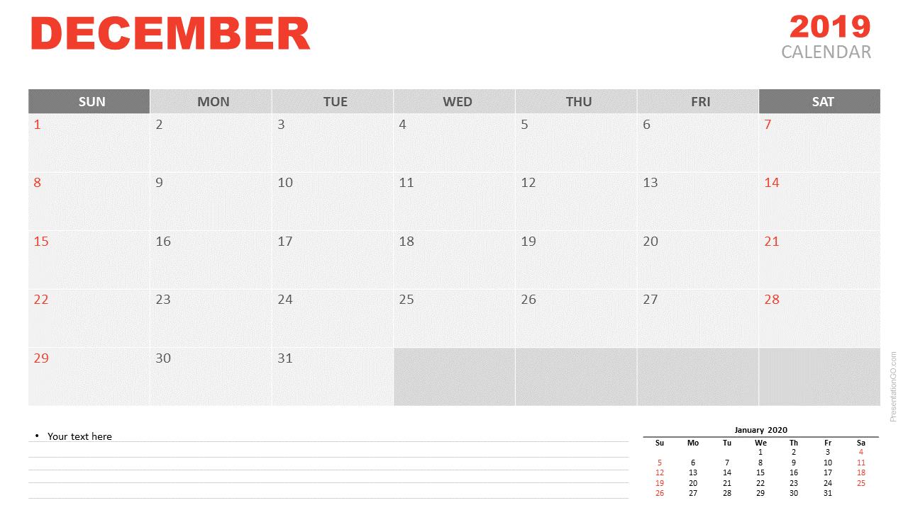 Free December 2019 Calendar for PowerPoint and Google Slides