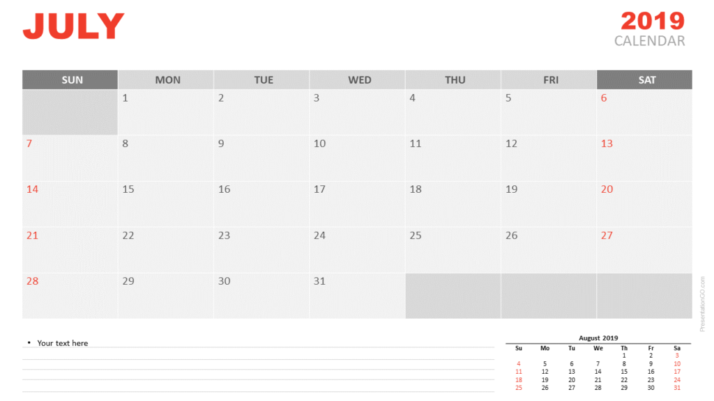 Free July 2019 Calendar for PowerPoint and Google Slides