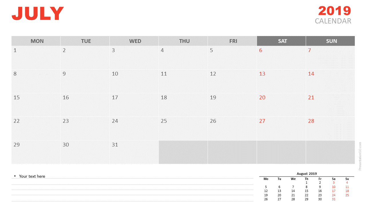 Free July 2019 Calendar for PowerPoint and Google Slides - Starts Monday