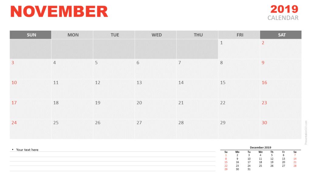 Free November 2019 Calendar for PowerPoint and Google Slides