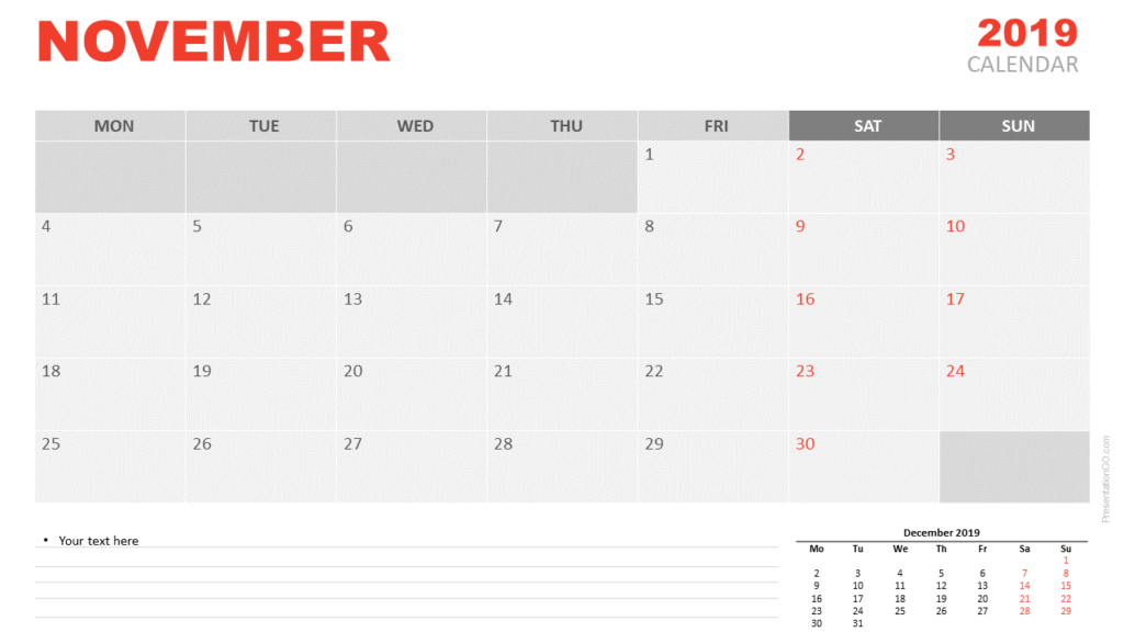 Free November 2019 Calendar for PowerPoint and Google Slides - Starts Monday