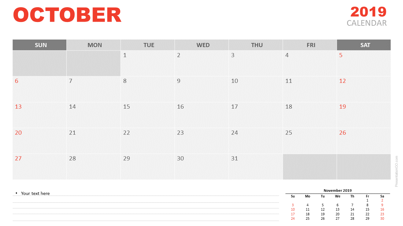 Free October 2019 Calendar for PowerPoint and Google Slides