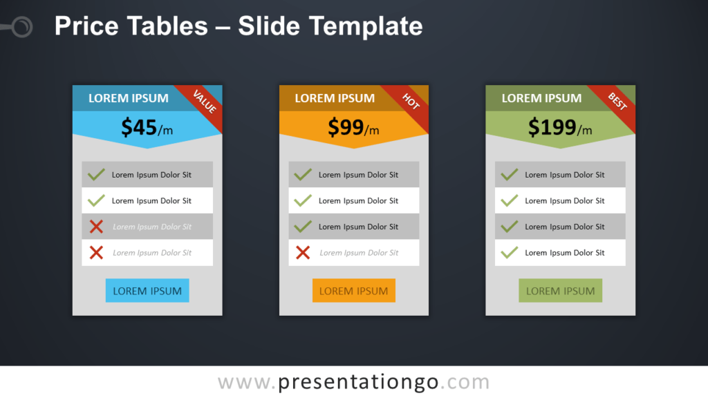 Free Price Tables Template for PowerPoint and Google Slides