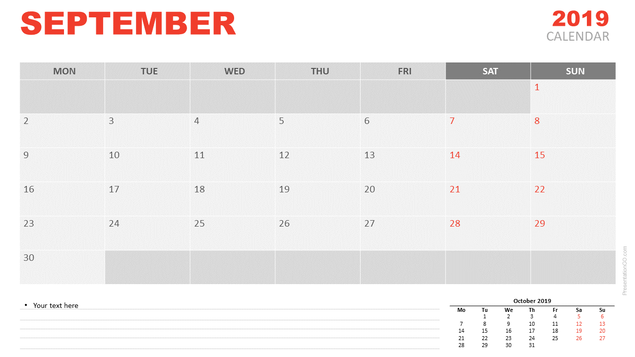 Free September 2019 Calendar for PowerPoint and Google Slides - Starts Monday