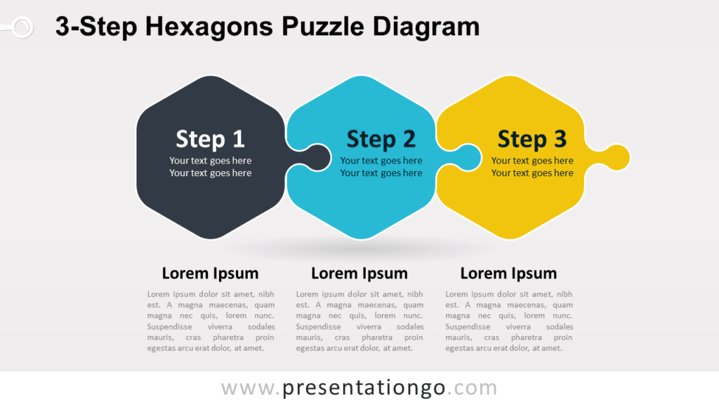 Free 3-Step Hexagons Puzzle Diagram for PowerPoint and Google Slides