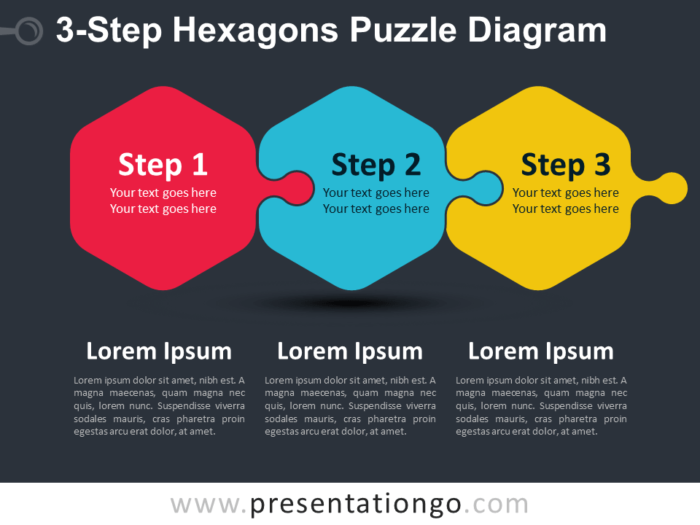 Free 3-Step Hexagons Puzzle Diagram Slide Template