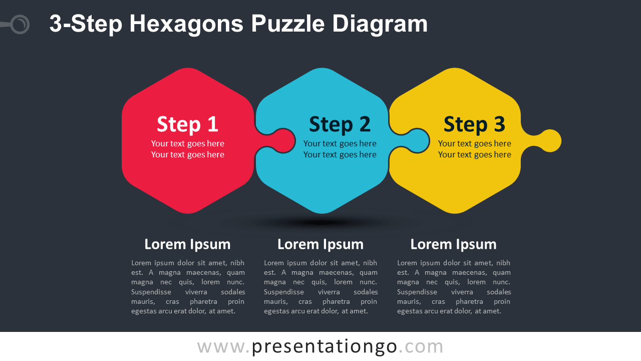 Free 3-Step Hexagons Puzzle for PowerPoint