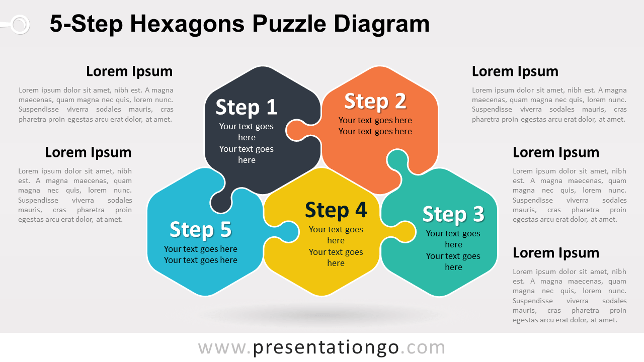 Free 5-Step Hexagons Puzzle Diagram for PowerPoint and Google Slides