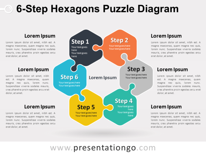 6-Step Hexagons Puzzle Diagram for PowerPoint