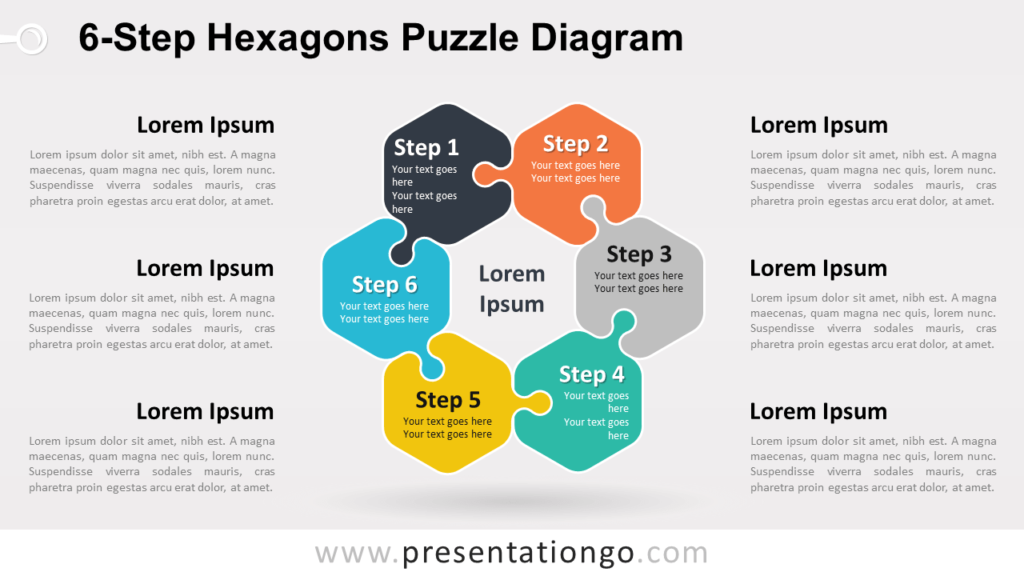 Free 6-Step Hexagons Puzzle Diagram for PowerPoint and Google Slides