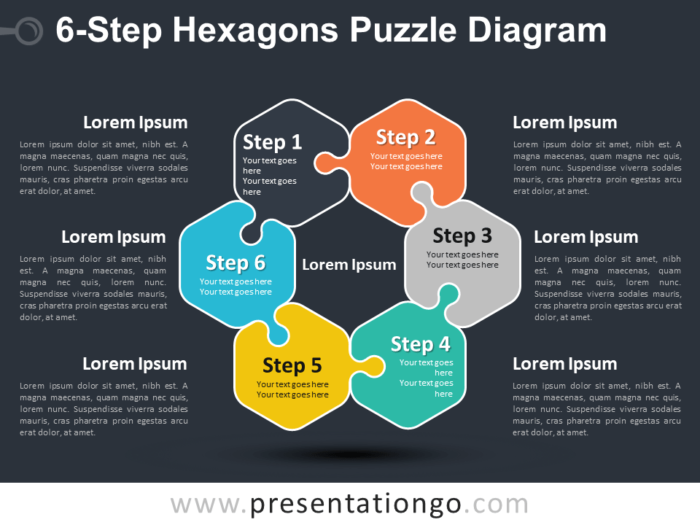 Free 6-Step Hexagons Puzzle Diagram Slide Template