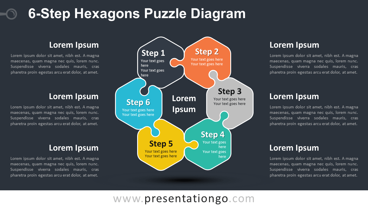Free 6-Step Hexagons Puzzle for PowerPoint