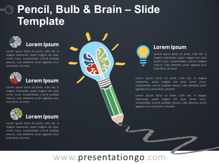 Free Pencil, Bulb and Brain Template