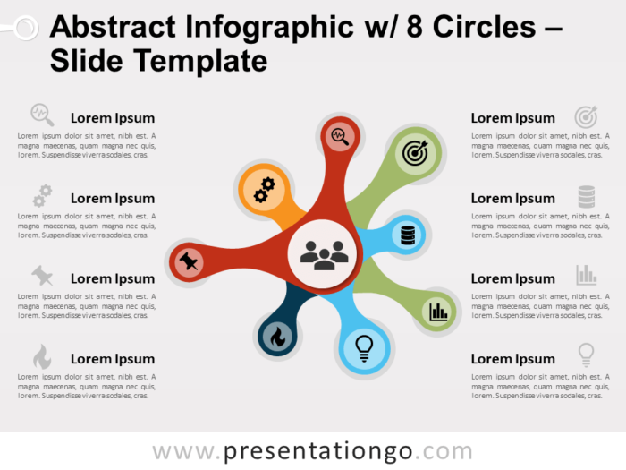 Free Abstract Infographics with 8 Circles Slide Template