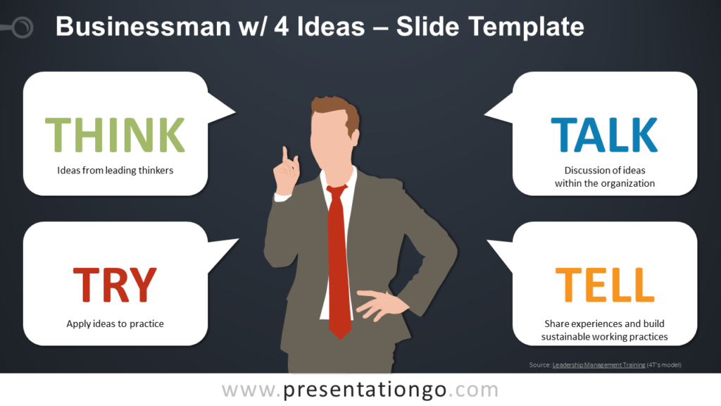 Free Businessman with 4 Ideas for PowerPoint