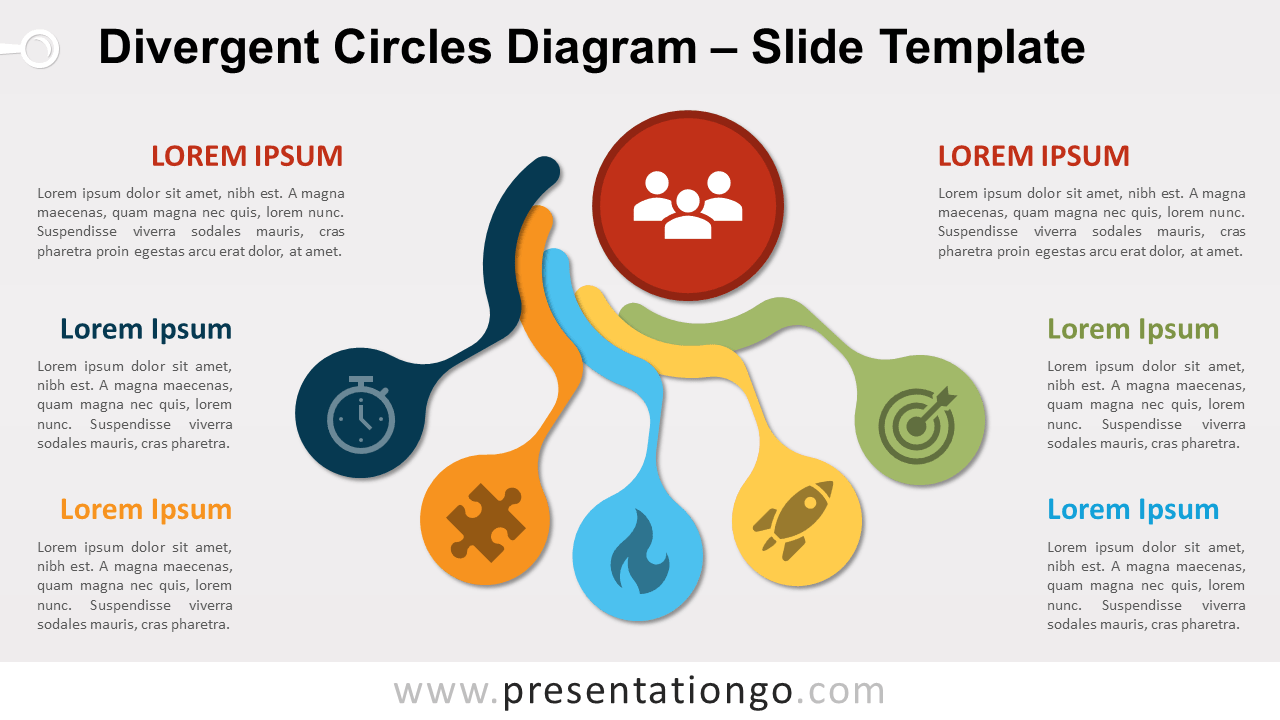 Free Divergent Circles Diagram for PowerPoint and Google Slides