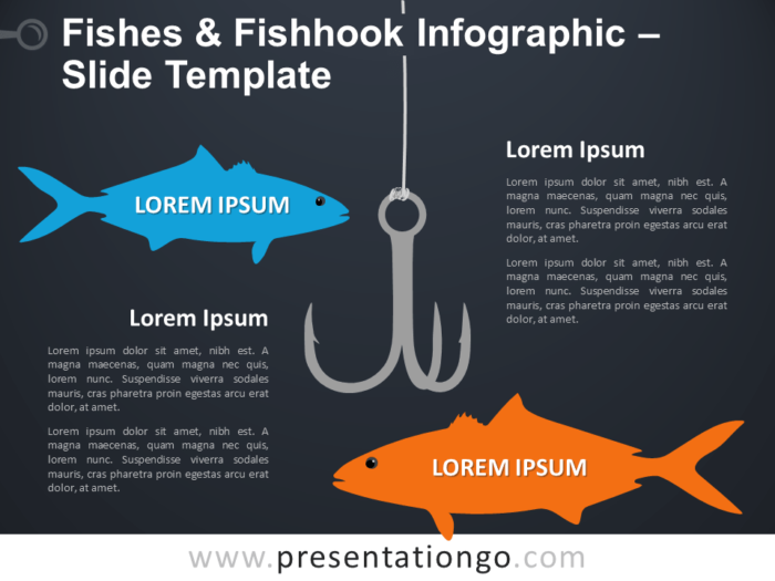 Free Fishes and Fishhook PowerPoint Infographic Slide